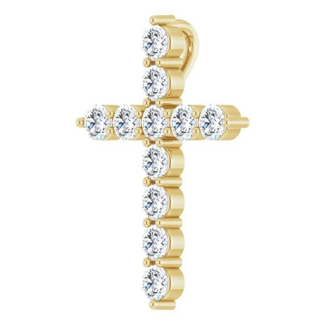 14K Yellow 17.8x12.9 mm 3/8 CTW Diamond Cross Pendant
