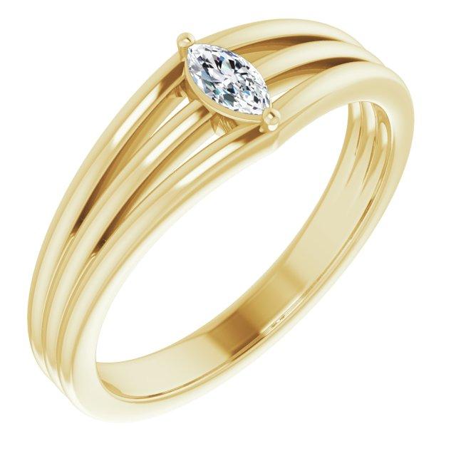 14K Yellow 1/8 CT Diamond Geometric Ring