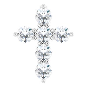 14K White 10.2x7.9 mm 1/4 CTW Diamond Cross Pendant
