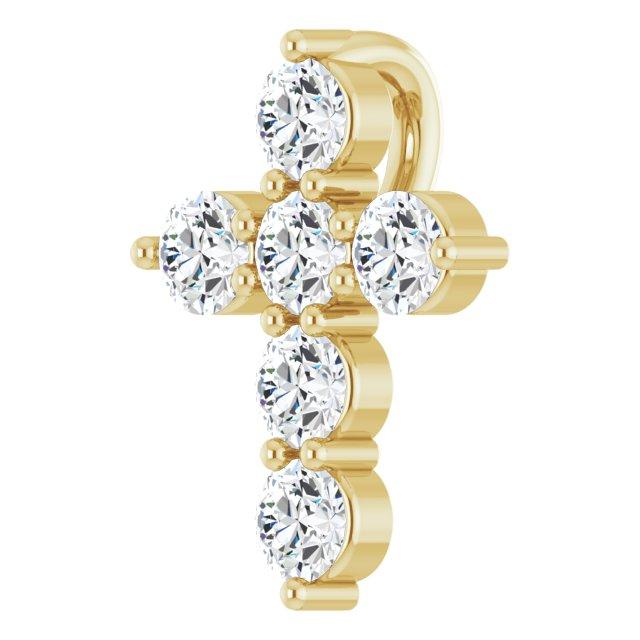 14K Yellow 10.2x7.9 mm 1/4 CTW Diamond Cross Pendant
