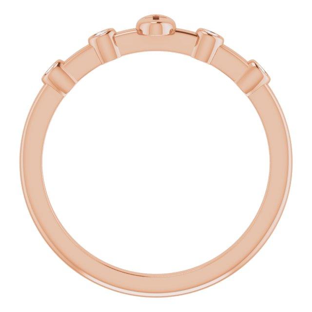 14K Rose .06 CTW Diamond Stackable Cross Ring