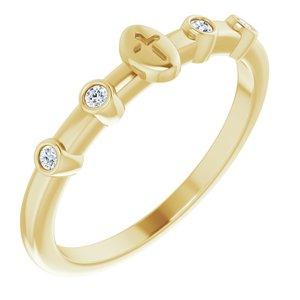 14K Yellow .06 CTW Diamond Stackable Cross Ring