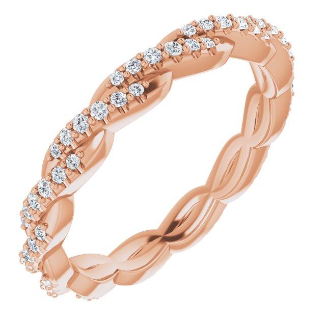 14K Rose 1/4 CTW Diamond Twisted Eternity Band Size 7