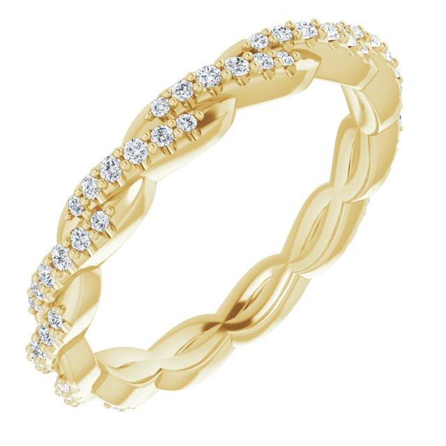 14K Yellow 1/4 CTW Diamond Twisted Eternity Band Size 7