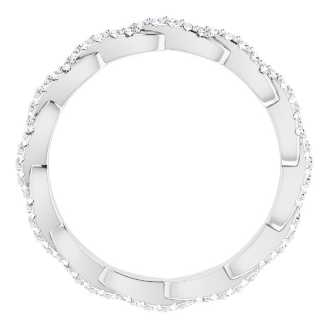 14K White 1/4 CTW Diamond Twisted Eternity Band Size 6