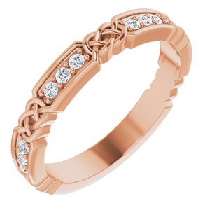 14K Rose 1/6 CTW Diamond Celtic-Inspired Anniversary Band