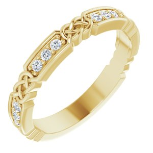 14K Yellow 1/6 CTW Diamond Celtic-Inspired Anniversary Band