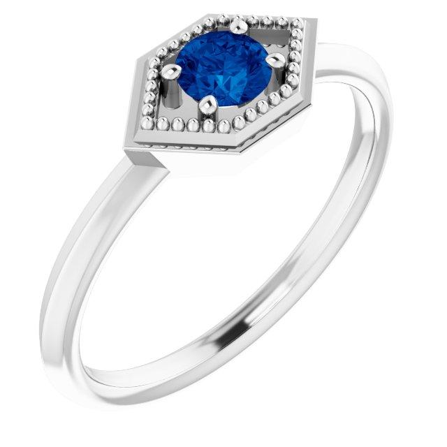 14K White Blue Sapphire Geometric Ring
