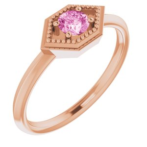 14K Rose Pink Sapphire Geometric Ring