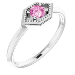 14K White Pink Sapphire Geometric Ring