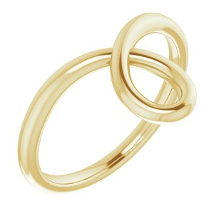 14K Yellow Looped Bypass Ring