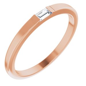 14K Rose 1/10 CT Diamond Accented Band