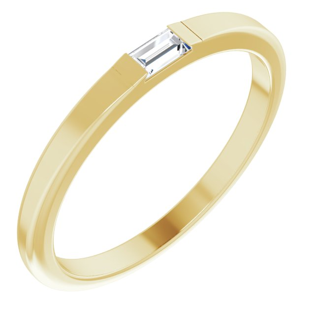 14K Yellow 1/10 CT Diamond Stackable Ring Size 7