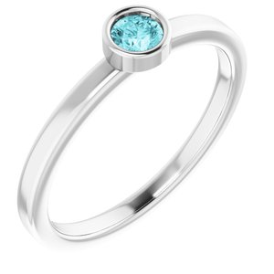 Rhodium-Plated Sterling Silver 5 mm Round Imitation Blue Zircon Ring