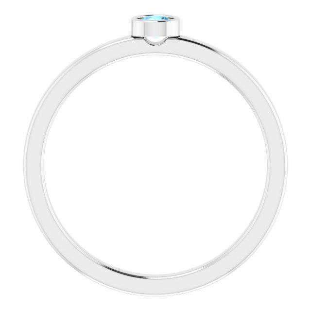 14K White 3 mm Round Aquamarine Ring