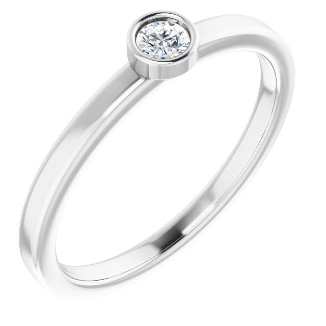 14K White 1/10 CTW Diamond Ring