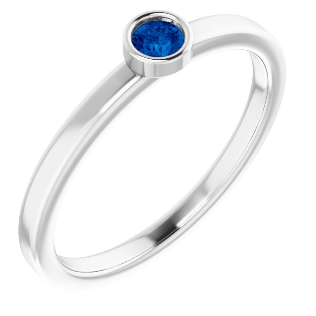 14K White 3 mm Round Lab-Grown Blue Sapphire Ring