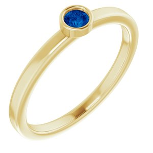 14K Yellow 3 mm Round Blue Sapphire Ring