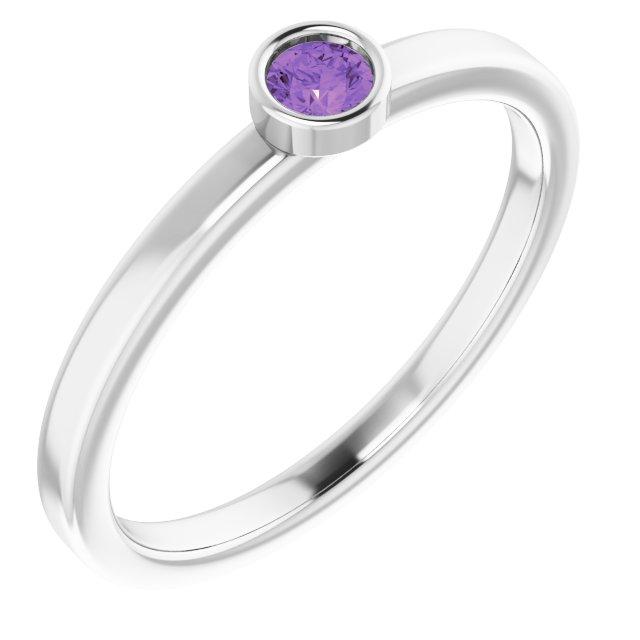 14K White 3 mm Round Amethyst Ring