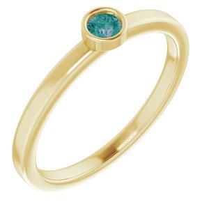 14K Yellow 3 mm Round Lab-Grown Alexandrite Ring