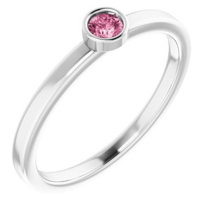Rhodium-Plated Sterling Silver 3 mm Round Pink Tourmaline Ring