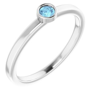 14K White 3 mm Round Aquamarine Ring