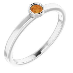 Rhodium-Plated Sterling Silver 3 mm Round Citrine Ring