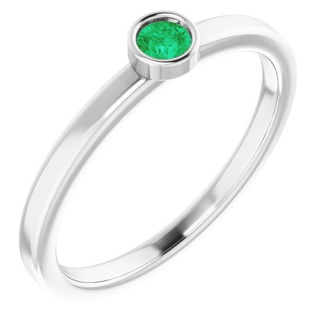 14K White 3 mm Round Lab-Grown Emerald Ring