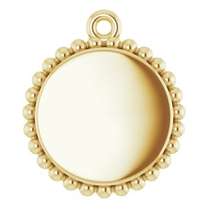18K Yellow Vermeil Engravable Beaded Disc Pendant