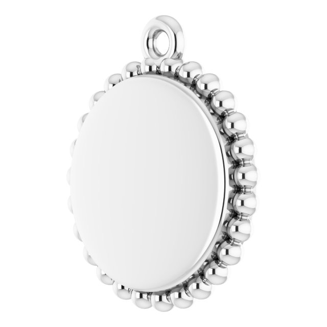 Sterling Silver Engravable Beaded Disc Pendant