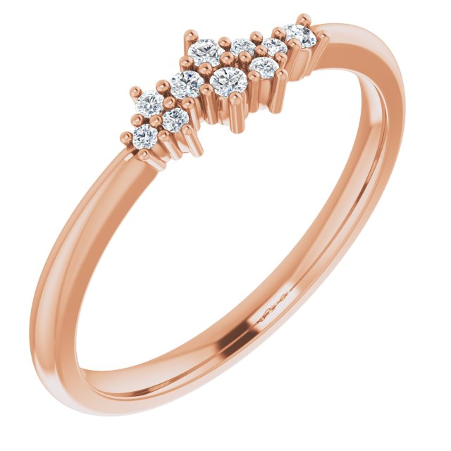 14K Rose .08 CTW Diamond Stackable Cluster Ring