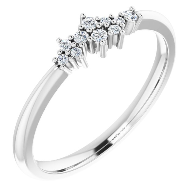 14K White .08 CTW Diamond Stackable Cluster Ring