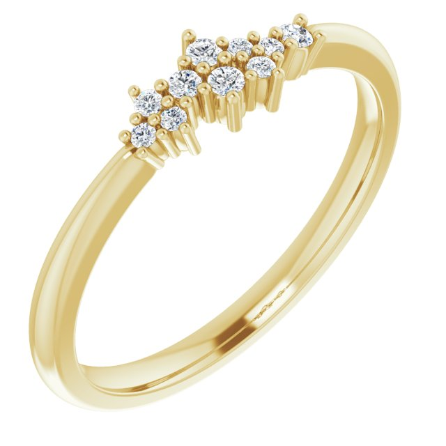 14K Yellow .08 CTW Diamond Stackable Cluster Ring