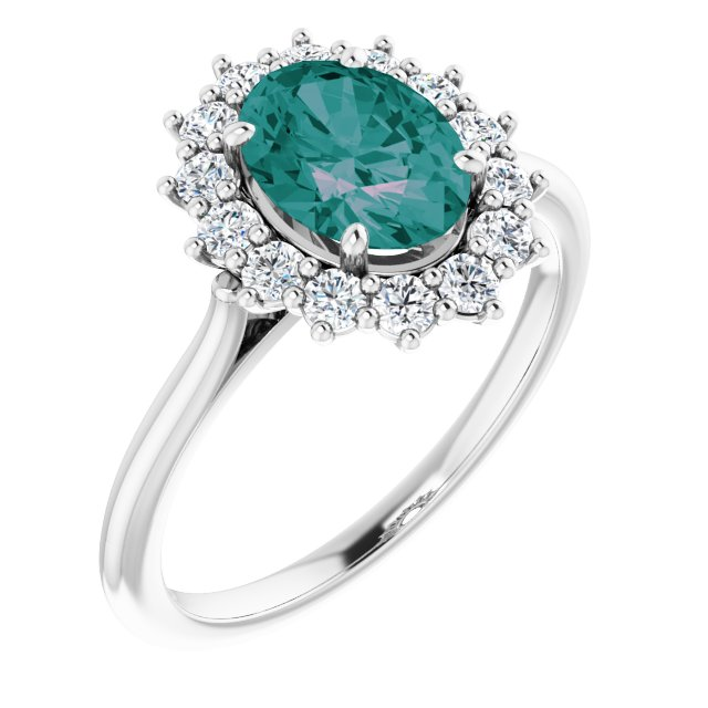 14K White Lab-Grown Alexandrite & 3/8 CTW Diamond Ring