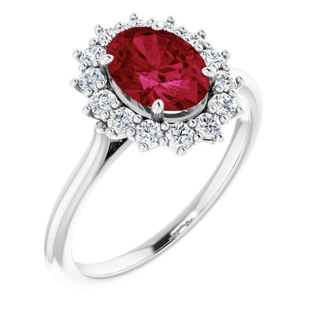 14K White Chatham® Created Ruby & 3/8 CTW Diamond Ring