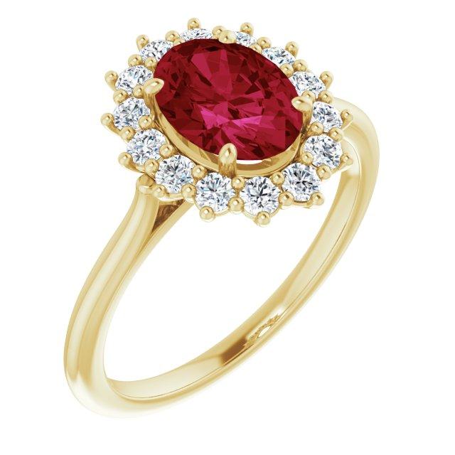 14K Yellow Lab-Grown Ruby & 3/8 CTW Diamond Ring