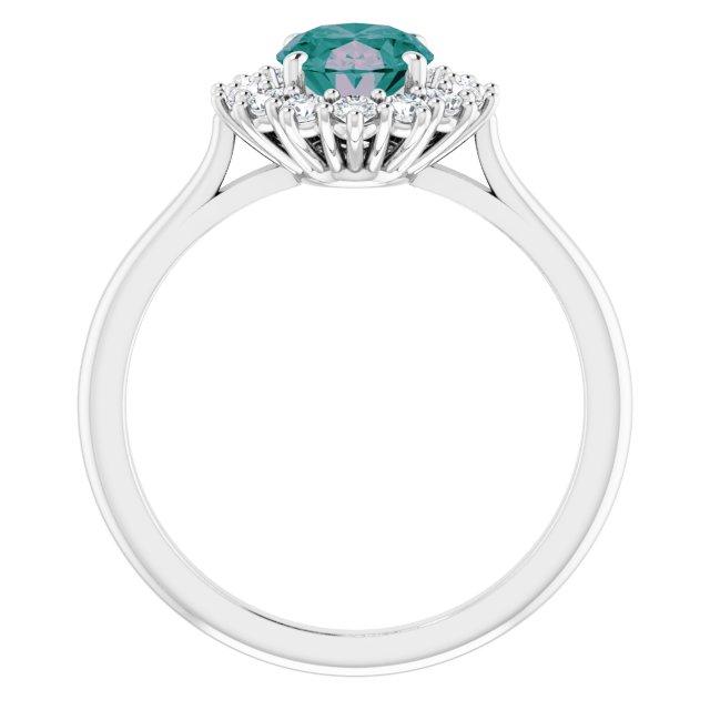 14K White Chatham® Created Alexandrite & 3/8 CTW Diamond Ring