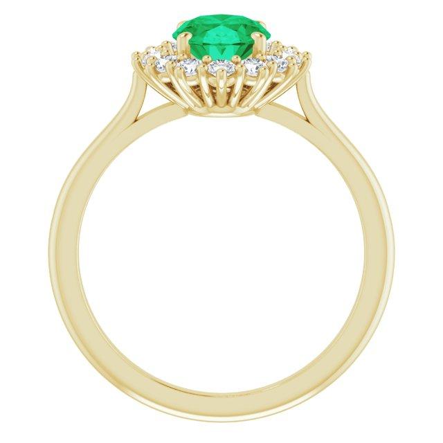 14K Yellow Lab-Grown Emerald & 3/8 CTW Diamond Ring