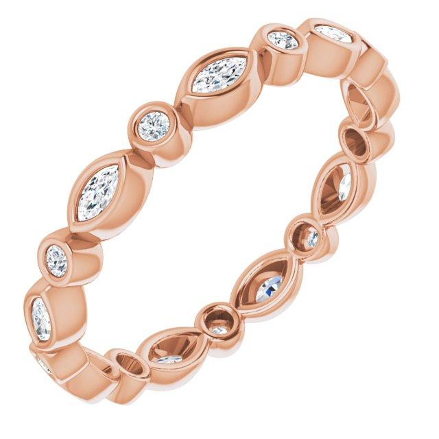 14K Rose 1/3 CTW Diamond Eternity Band Size 7