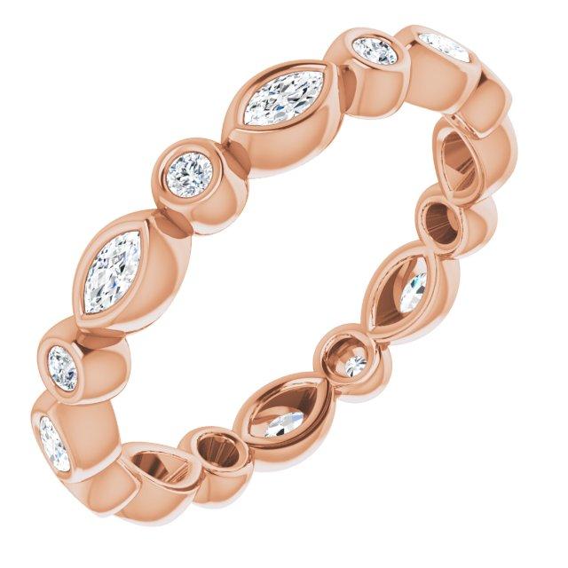 14K Rose 1/3 CTW Diamond Eternity Band Size 4