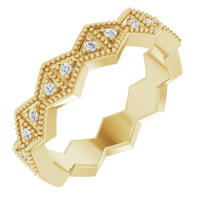 14K Yellow 1/5 CTW Diamond Geometric Eternity Band Size 6