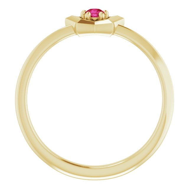 14K Yellow 3 mm Round January Youth Star Birthstone Ring