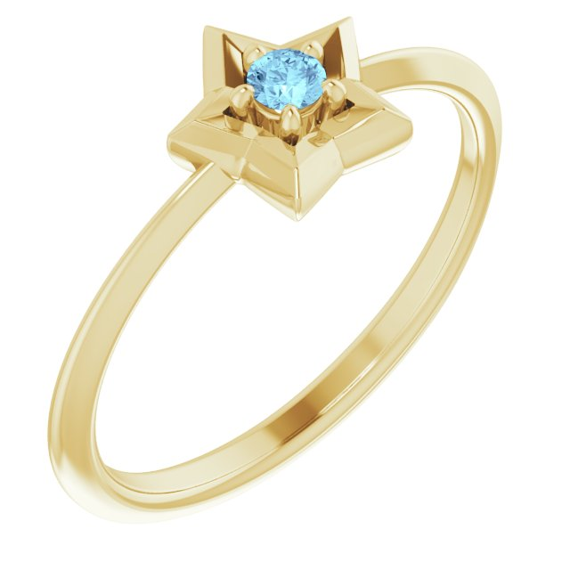 14K Yellow Youth Star March Birthstone Ring