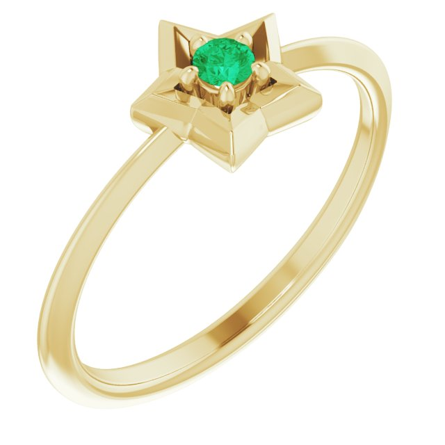 14K Yellow 3 mm Round May Youth Star Birthstone Ring