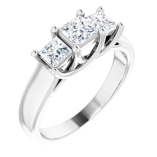 Sterling Silver 4x4 mm & 3.5x3.5 mm Square Cubic Zirconia Three-Stone Ring Size 8