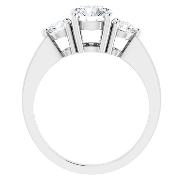Sterling Silver 6.5 mm Round Cubic Zirconia Three-Stone Ring Size 6