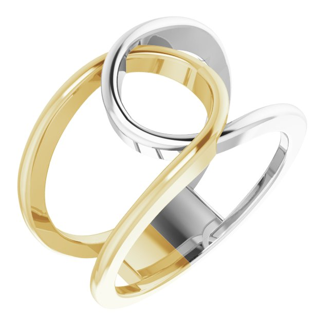14K White & Yellow Interlocking Loop Ring