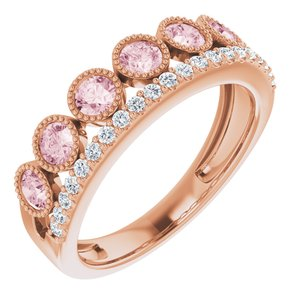 14K Rose Morganite & 1/5 CTW Diamond Ring