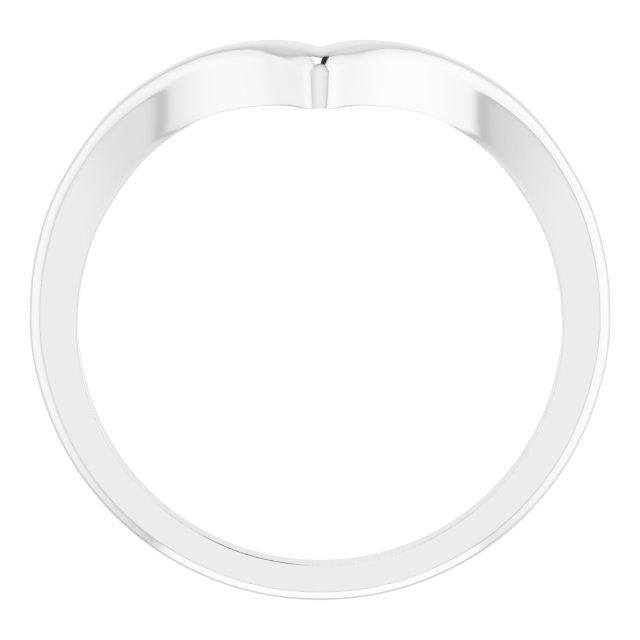 14K White V Ring