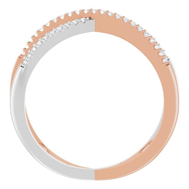 14K Rose & White 1/6 CTW Diamond Criss-Cross Ring